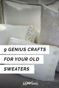 Do you have old sweaters lying around that are out of style, stretched out or don't fit you anymore? Then this list of cute sweater crafts is just up your ally. Check it out to find some great ways to breath new life into this listless sweaters! Old Sweater, Cute Sweaters, Scrap Wood Projects, Diy Projects, Sewing Projects, Farmhouse Side Table, Cute Dorm Rooms, Creative Crafts, Diy Crafts