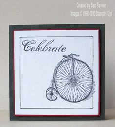 Feeling sentimental.  I like the simple drawn border & the way it is 'broken' by the penny farthing.  Nice touch.
