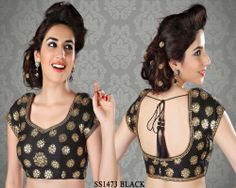 Stunning Black Brocade Saree Blouse http://rajasthanispecial.com/index.php/stunning-black-brocade-saree-blouse.html