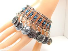 Womens Silver Boho Coin Charm Turquoise Antalya Bracelet Anklet Adjustable