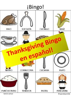 Thanksgiving Bingo in Spanish!Your kids will love practicing their Thanksgiving vocabulary words in Spanish with this Bingo game.The PDF download includes Bingo cards to call out in color. The Bingo boards themselves have 8 different variations in black and white.Yours kiddos will also loving coloring their Bingo boards and then taking them home to share some Spanish Thanksgiving words with their families.