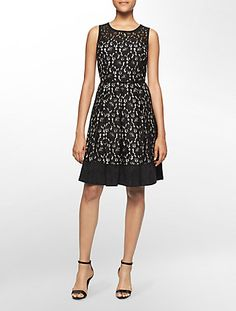 lace + ultra suede trim belted sleeveless fit + flare dress | Calvin Klein