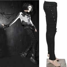 Black Punk Rock Emo Military Style Slim Fit Pants Women Men SKU-11404171