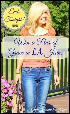 Last day to enter to #WIN a Pair of AMAZING #Grace in LA Jeans! The embellishments on their jeans are STUNNING!  Hop by and enter to #Win at StyleDecor here: http://www.styledecordeals.com/2014/09/bedazzling-grace-in-la-jeans-review.html Good Luck!