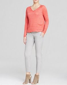 Eileen Fisher New $228 Long Raglan Sleeves V-Neck Box Linen Knit Top Size L #EileenFisher #KnitTop #Casual