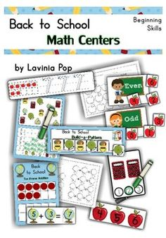 Math Centers - Back to School (Beginning Skills) Includes: Write & Wipe Numbers Count It Missing Numbers Patterns (AB/AAB/AABB/ABC) patterns to build) Count and Graph boards) Addition with Tens Frame (to Odd and Even Sorting Preschool Math, Math Classroom, Kindergarten Activities, Teaching Math, Maths, Classroom Ideas, Childhood Education, Kids Education, Self Contained Classroom