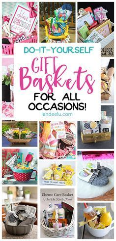 A ton of do it yourself gift basket ideas to make gift-giving that much easier! Gift basket ideas for all occasions...make someone\'s day!