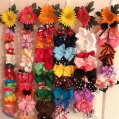 3M hooks and ribbon for hair bows on the back of Claire's bedroom door