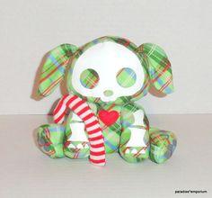 Skelanimals Christmas Plush DAX Puppy Plaid Green Candy Cane #skelanimals