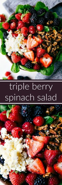 Triple Berry Spinach Salad with Candied Pecans - the BEST sweet lemon poppyseed dressing (no mayo), easy candied pecans, and fresh berries over a bed of spinach. This spinach salad is delicious and great to serve to a crowd! Salad Bar, Soup And Salad, Pasta Salad, Vegetarian Recipes, Cooking Recipes, Healthy Recipes, Bariatric Recipes, Sausage Recipes, Mexican Recipes
