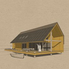 Barn House Conversion, Prefab Cottages, Bbq Hut, Cottage Style House Plans, Home Pictures, Cabin Homes, Modern Architecture, House Design, House Styles
