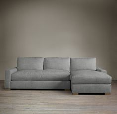Maxwell Upholstered Right-Arm Sofa Chaise Sectional Actual item is the Petite Maxwell version in Perennials Fog Classic Linen fabric, ~$4240