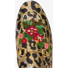 Gucci Princetown Leopard Print Mules ($695) ❤ liked on Polyvore featuring shoes, leather shoes, leopard loafers, leather slip-on shoes, gucci mules and leather mule shoes