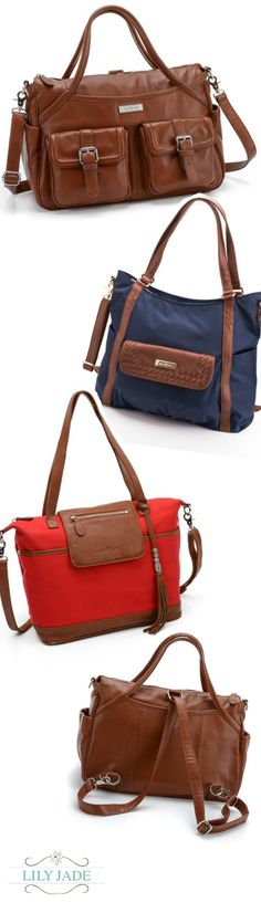 Stop digging for the pacifier. Lily Jade's luxe leather bags come with 21 pockets and a removable, washable organization insert. Go now to www.lily-jade.com to learn more.