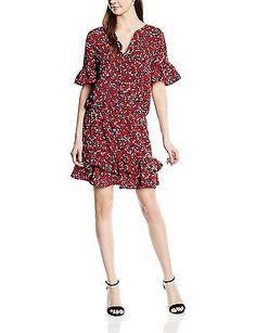 UK 14, Blue - Bleu (Marine/Rouge), Morgan Women's Rosy Short Sleeve Dress NEW