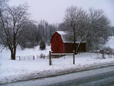 Winter with barn - Google Search