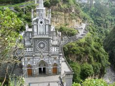 Las Lajas Sanctuary ~ Colombia Basilica church located in the southern Colombian Department of Nariño, municipality of Ipiales and built inside the canyon of the Guáitara River.  #LasLajasSanctuary #Colombia #Basillica #AmazingPlacesToVisitearch