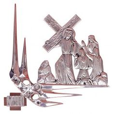 Vía Crucis 15 estaciones 32 x 34 cm latón plateado | venta online en HOLYART