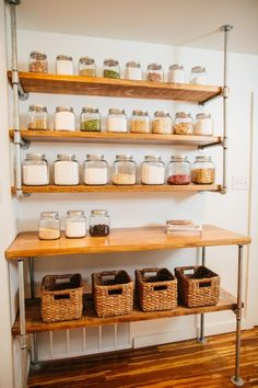 Pantry Shelving Ideas - Designs & Ideas for Kitchen Shelves & Custom Pantries Pantries are practical additions to any home. From simple solutions to elaborate showcases, here are great open pantry shelving ideas. Open Kitchen Cabinets, Kitchen Cabinet Storage, Pantry Shelving, Open Shelving, Shelving Ideas, Retail Shelving, Cabinet Shelving, Wall Shelving, Shelving Design