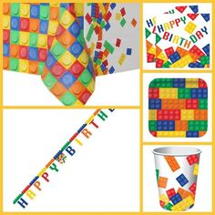 Block party pack for 8 guests - Deluxe - LEGO party supplies - Fabulous Partyware Party Kit, Party Packs, Party Ideas, Lego Party Supplies, Lego Themed Party, Sweet Cones, Party Themes For Boys, Block Party, Party Tableware