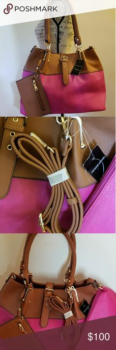 3 in 1 shoulder bag, clutch, and wristlet Just as pictured !  Beautiful Brown and pink bag from Wilson's Leather.  Comes with shoulder strap   Comes with wristlet and clutch as well.   Can be used as a shoulder bag or with long straps. Black Rivet Bags Shoulder Bags