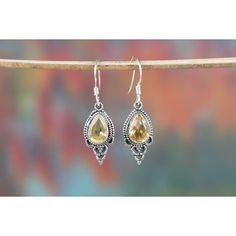 Wow Handmade Citrine Gemstone 925 Silver Earring via Polyvore featuring jewelry, earrings, citrine jewelry, gem earrings, citrine earrings, silver gemstone jewelry and gemstone jewelry