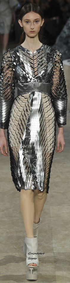 Spring 2016 Ready-to-Wear Iris van Herpen 3d Fashion, Fashion Details, Editorial Fashion, Fashion Models, High Fashion, Fashion Show, Fashion Design, Metal Fashion, Fashion Beauty
