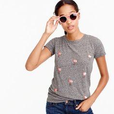 Beaded ostrich T-shirt