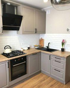 Grey Kitchen Designs, Kitchen Room Design, Modern Kitchen Design, Home Decor Kitchen, Kitchen Interior, Home Kitchens, Kitchen Modular, Apartment Kitchen, Küchen Design