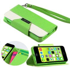 myLife Spring Lime Green + White {Modern Design} Faux Leather (Card, Cash and ID Holder + Magnetic Closing + Hand Strap) Slim Wallet for the...