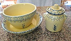 Robinson Ransbottom sponged wheat stoneware pasta bowl, mixing bowl and covered jar assortment for sale at More Than McCoy on TIAS