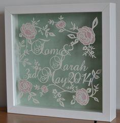 Personalised Wedding/ Anniversary Rose Papercut on Etsy, £35.00  Etsy - https://www.etsy.com/uk/shop/RosebudPaperCrafts?ref=si_shop Facebook - www.facebook.com/rosebudpapercrafts
