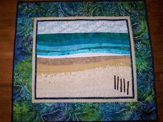 I have long wanted to make a landscape quilt, but have always been a little scared to try. After all, they look so beautiful and complicated. Ocean Quilt, Beach Quilt, Fish Quilt, Applique Cushions, Applique Quilts, Blue Quilts, Small Quilts, Batik Quilts, Panel Quilts