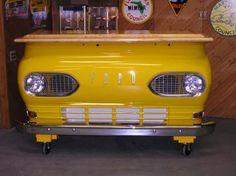 A man cave car bar for the automobile enthusiast.