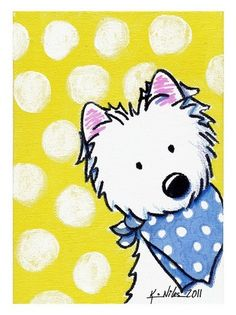 Westie On Dotted Yellow - Kim Niles.
