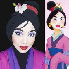 The Little Mermaid, Mulan, or even Jafar - Malaysian make up artist Saraswati can transform herself into any Disney character. The mother-of-two has not only mastered the art of face paint, she also creatively uses her hijabs to complete her looks. Maquillage Disney Pour Halloween, Disney Halloween Makeup, Halloween Costumes, Cosplay Costumes, Disney Cosplay, Disney Princess Makeup, Disney Makeup, Disney Character Makeup, Moana Makeup