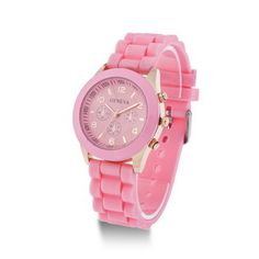 Silicone Geneva Women's Watch New Pink