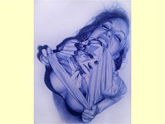 Spanish artist Juan Francisco Casas uses ballpoint pens to create huge, intricate photorealistic portraits of the women in his life. You can see tons more of his fantastic work at Hypemuch. Bic Pens, Ballpoint Pen Drawing, Pen Illustration, Illustrations, Ballpen Drawing, Art Bin, Black And White Comics, Sharp Photo, Outline Drawings