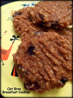 oat bran breakfast cookies ~ wheat, dairy  egg free, sweetened with banana  applesauce