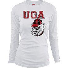 MJ Soffe Womens Georgia Bulldogs Long Sleeve T-Shirt - White