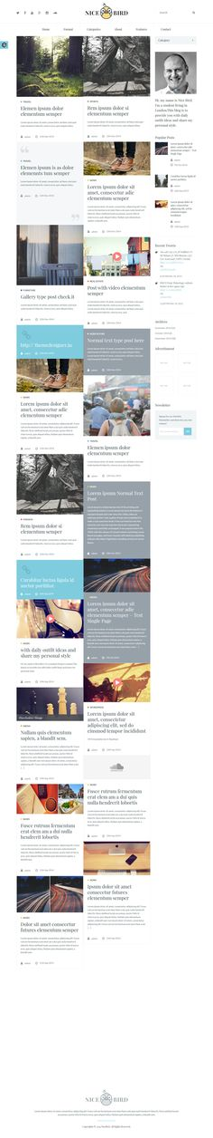 NiceBird- WordPress Blog Themes for Blog/Newspaper #blogtheme #wordpress Live Preview and Download: http://themeforest.net/item/nicebird-wordpress-blog-themes-for-blognewspaper/9477278?ref=ksioks