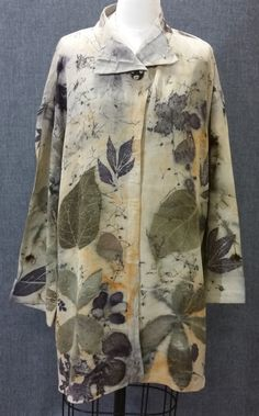 Eco dyed recycled Silk coat, designer made and enhanced with fantastic leaf…