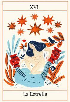 Illustrated Tarot Deck 78 cards and adaptations for notebooks and textiles. Tarot Card Decks, Tarot Cards, Tarot Card Art, Illustrations, Illustration Art, 4 Tattoo, Love Tarot, Poster S, Art Graphique