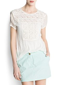Spotted guipure blouse