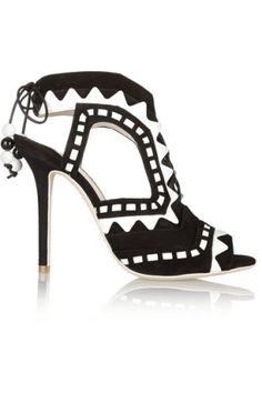 Sophia Webster|Riko cutout patent-leather and suede sandals|NET-A-PORTER.COM