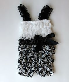 I really need this for Marilyn! Black & White Damask Lace Ruffle Romper - Infant & Toddler by Diva Daze on #zulily !