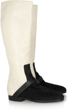 Jacqui Leather and Snakeeffect Calf Hair Knee Boots
