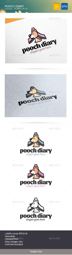 Pooch Diary Logo Design Template Vector #logotype Download it here: http://graphicriver.net/item/pooch-diary/14461902?s_rank=690?ref=nexion