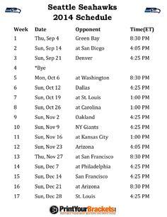 Printable Seattle Seahawks Schedule - 2014 Football Season