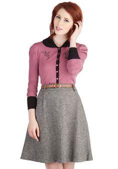Vice Versatility Skirt - Woven, Mid-length, Grey, Belted, Work, Menswear Inspired, A-line, High Waist, Better, Grey, Fall, Winter